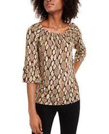 Michael Michael Kors Printed Bell-Sleeve Peasant Blouse, Regular & Petite Sizes
