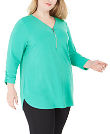 JM Collection Plus Size Solid Zip Top, Created for Macy's