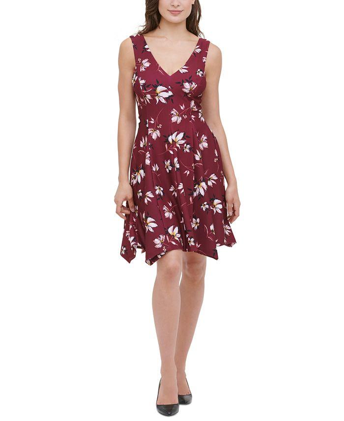 kensie - Printed Handkerchief-Hem Fit & Flare Dress