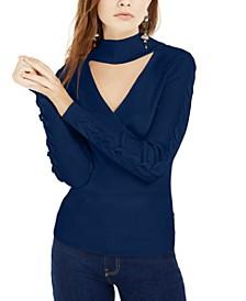 Juniors' Mock-Neck Cutout Sweater