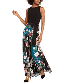 I.N.C. Solid & Floral-Print Maxi Dress, Created For Macy's