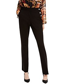 INC Petite Snap-Trim Bootcut Pants, Created For Macy's