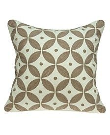 Capella Transitional Beige and White Pillow Cover