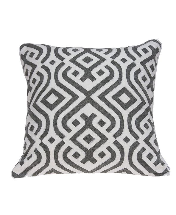 Parkland Collection Vega Traditional Grey and White Pillow Cover