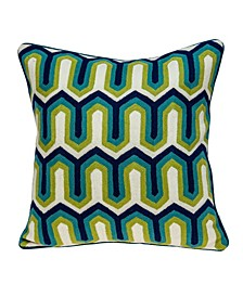Handmade Monte Transitional Multicolored Pillow Cover with Polyester Insert