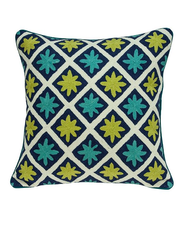 Parkland Collection Handmade Itza Traditional Multicolored Pillow Cover With Down Insert