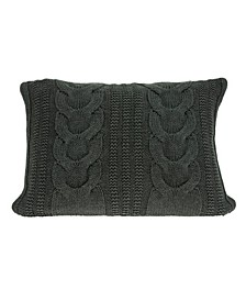 Makka Transitional Grey Pillow Cover With Down Insert
