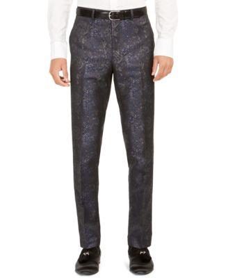Orange Men's Slim-Fit Snakeskin-Print Suit Pants
