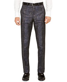 Orange Men's Slim-Fit Snakeskin-Print Suit Pants