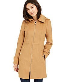 Michael Michael Kors Petite Hooded Stand-Collar Coat, Created For Macy's