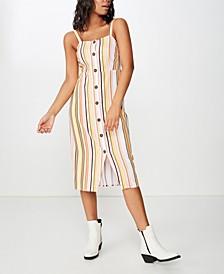 Woven Lush Button Through Midi Dress