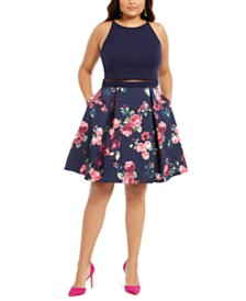 B Darlin Trendy Plus Size Illusion Floral-Print Fit & Flare Dress