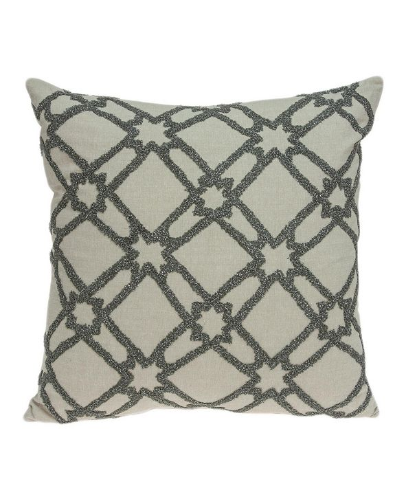 Parkland Collection Cora Transitional Beige Pillow Cover with Polyester Insert