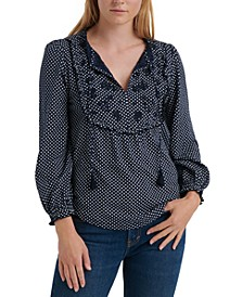 Cotton Dot-Print Embroidered-Bib Top