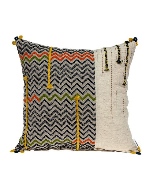 Parkland Collection Dalia Bohemian Multicolor Pillow Cover With Down Insert
