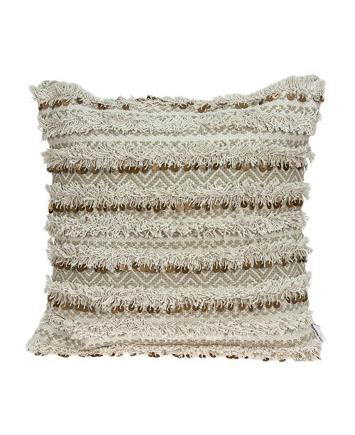 Parkland Collection Hailey Bohemian Beige Pillow Cover with Polyester Insert