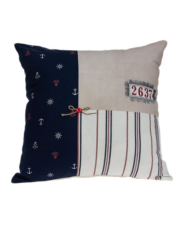 Parkland Collection Oceana Nautical Multicolor Pillow Cover With Down Insert