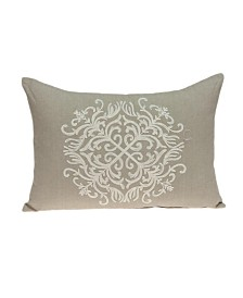 Parkland Collection Tara Traditional Beige Pillow Cover With Down Insert