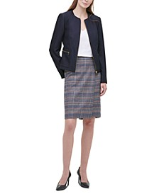 Twill Zipper-Front Blazer, V-Neck Camisole & Tweed Pencil Skirt