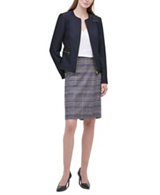 Calvin Klein Petite Twill Zipper-Front Blazer, V-Neck Camisole & Tweed Pencil Skirt
