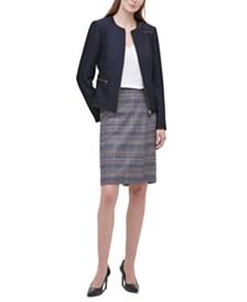 Calvin Klein  Twill Zipper-Front Blazer, V-Neck Camisole & Tweed Pencil Skirt