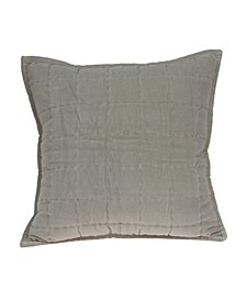 Kavi Transitional Grey Solid Quilted Pillow Cover