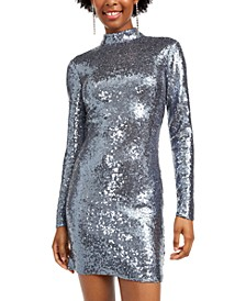 Juniors' Sequined Open-Back Bodycon Dress