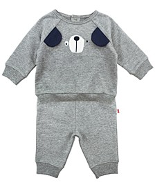 Baby Boy 2-Piece Puppy Outfit Set With Long Sleeve Tee and Pant
