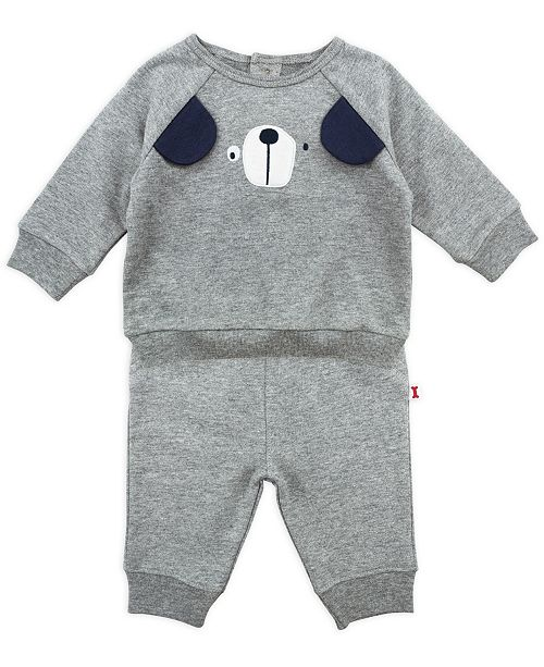 Mac & Moon Baby Boy 2-Piece Puppy Outfit Set With Long Sleeve Tee and Pant