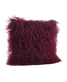 "Wool Mongolian Lamb Fur Throw Pillow, 16"" x 16"""
