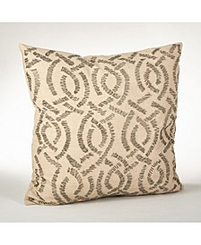 """Beaded Design Feather Filled Throw Pillow, 20"""" x 20"""""""