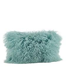 "Wool Mongolian Lamb Fur Throw Pillow, 12"" x 20"""