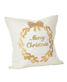"Merry Christmas Embroidered Cotton Throw Pillow, 18"" x 18"""
