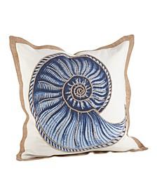 """Nautilus Spiral Shell Print Cotton Throw Pillow, 20"""" x 20"""""""