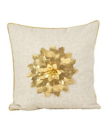"Metallic Poinsettia Flower Design Holiday Polyester Filled Throw Pillow, 18"" x 18"""