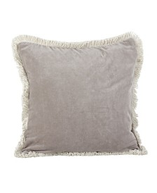 "Cotton Fringe Trimmed Throw Pillow, 20"" x 20"""