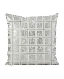 """Metallic Grid Fringe Design Cotton Throw Pillow, 18"""" x 18"""""""