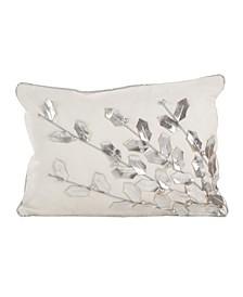 "Metallic Poinsettia Branch Design Holiday Cotton Polyester Filled Throw Pillow, 12"" x 18"""
