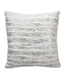 "Faux Fur with Brushed Metallic Foil Print Throw Pillow, 15"" x 15"""