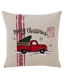 "Merry Christmas Truck Throw Pillow, 18"" x 18"""