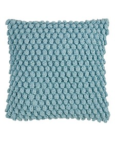 "Cotton Crochet Pom Pom Throw Pillow, 20"" x 20"""