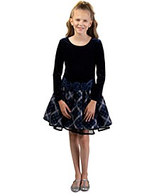 Big Girls Drop-Waist Plaid Dress