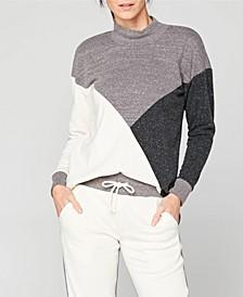 Mockneck Colorblock Pullover Sweatshirt