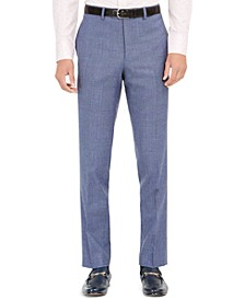 Orange Men's Slim-Fit Stretch Blue Plaid Suit Pants
