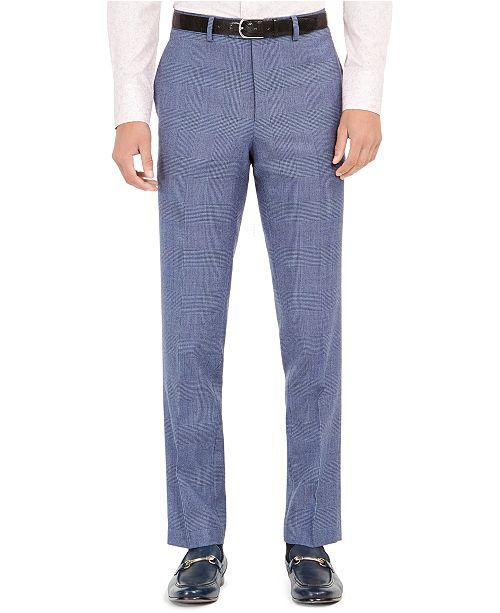 Tallia Orange Men's Slim-Fit Stretch Blue Plaid Suit Pants