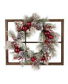 Wooden Window Frame with Flocked Pinecone Ornament Wreath