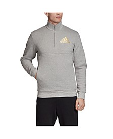 Men's Mettalic Badge of Sport 1/4 Zip Pullover with Stand Collar