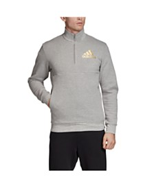 Adidas Men's Mettalic Badge of Sport 1/4 Zip Pullover with Stand Collar