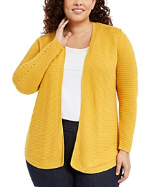 Belle by Plus Size Ribbed-Knit Cardigan