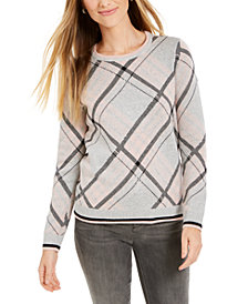 Charter Club Plaid Crewneck Sweater